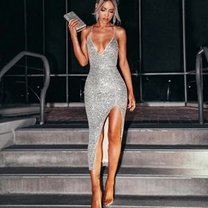 Silver Sequin High Slit Deep V Midi Dress